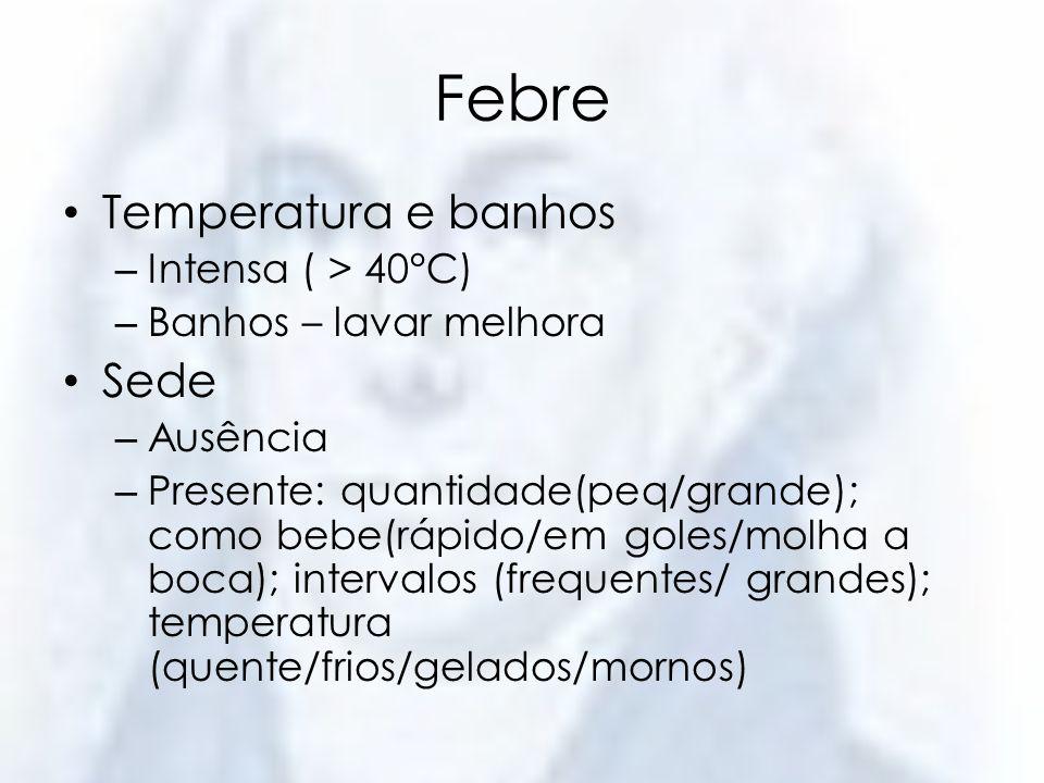 Febre Temperatura e banhos Sede Intensa ( > 40°C)