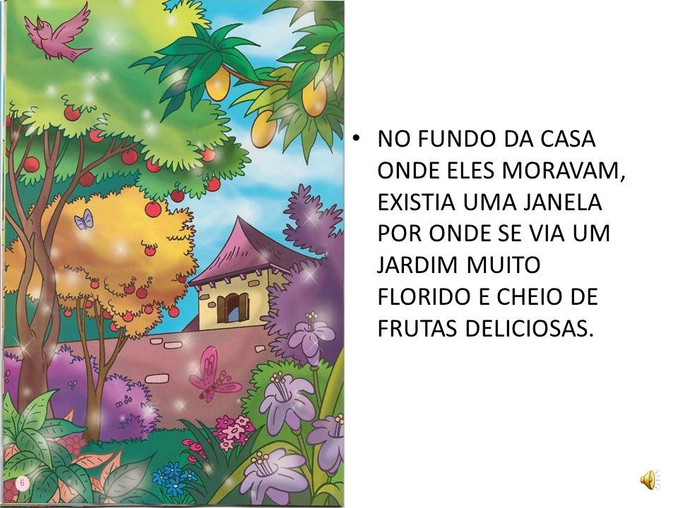 NO FUNDO DA CASA ONDE ELES MORAVAM, EXISTIA UMA JANELA POR ONDE SE VIA UM JARDIM MUITO FLORIDO E CHEIO DE FRUTAS DELICIOSAS.