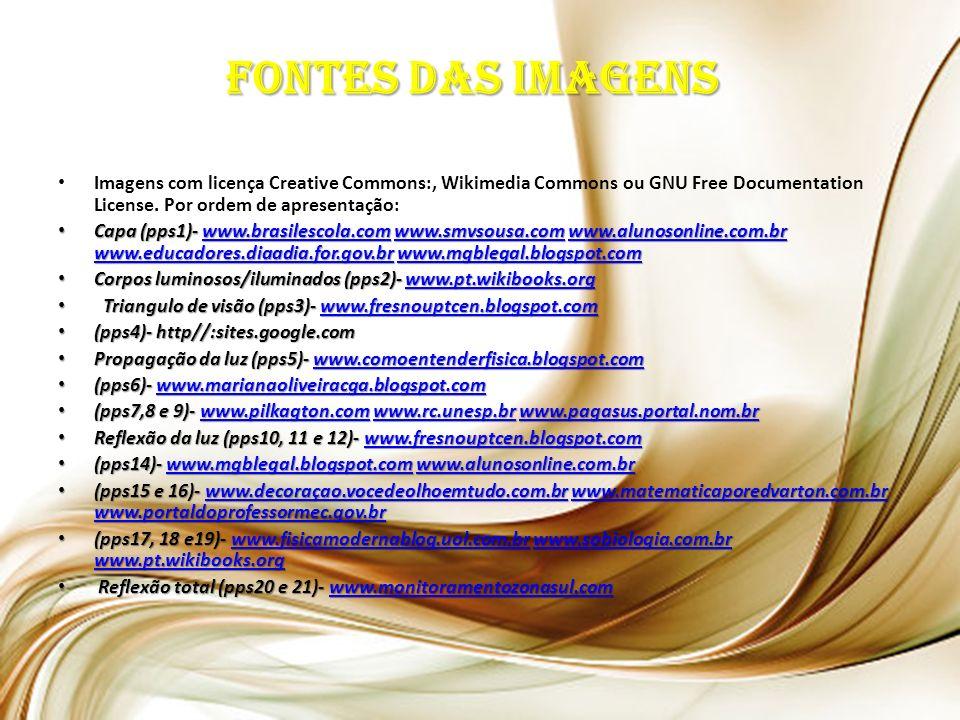 Fontes das imagens Imagens com licença Creative Commons:, Wikimedia Commons ou GNU Free Documentation License. Por ordem de apresentação: