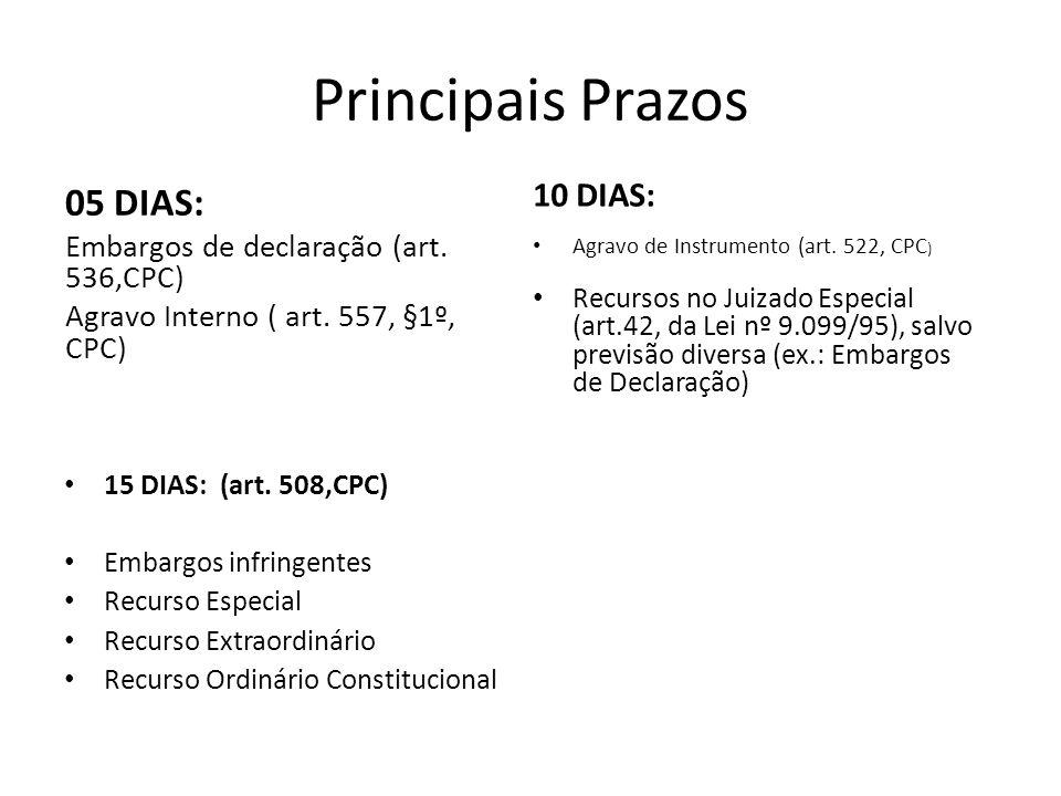 Principais Prazos 05 DIAS: 10 DIAS: