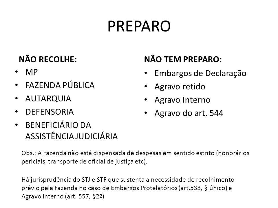 PREPARO NÃO RECOLHE: NÃO TEM PREPARO: MP FAZENDA PÚBLICA AUTARQUIA