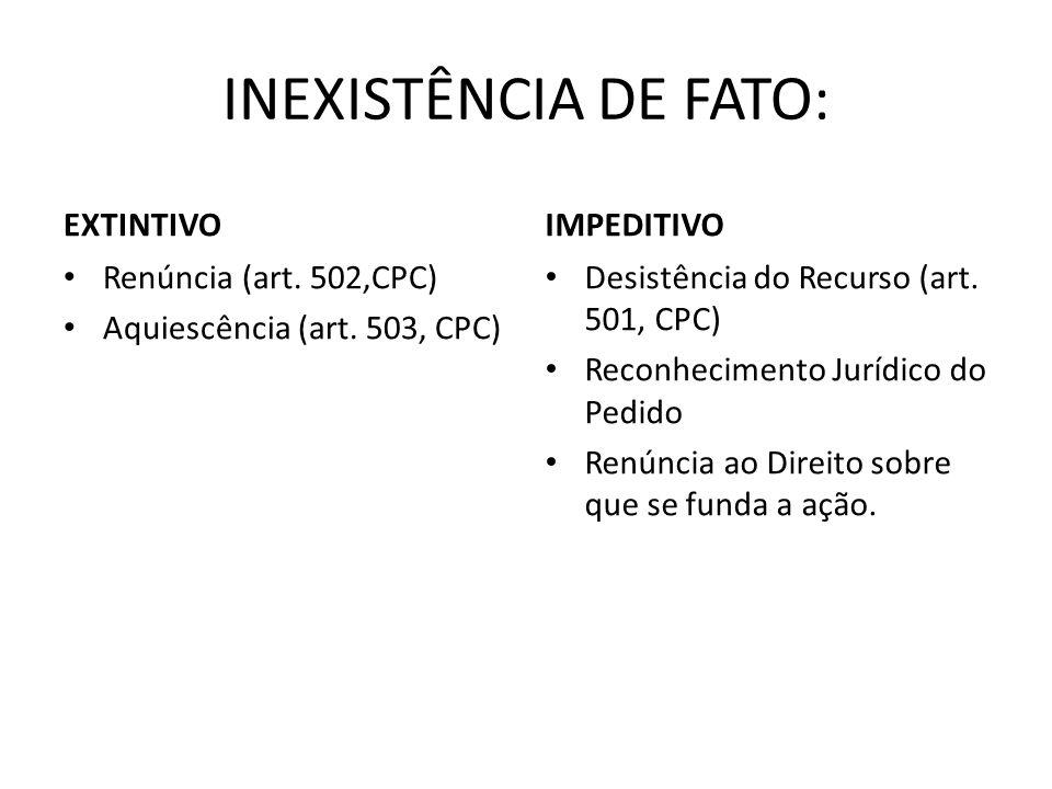 INEXISTÊNCIA DE FATO: EXTINTIVO IMPEDITIVO Renúncia (art. 502,CPC)