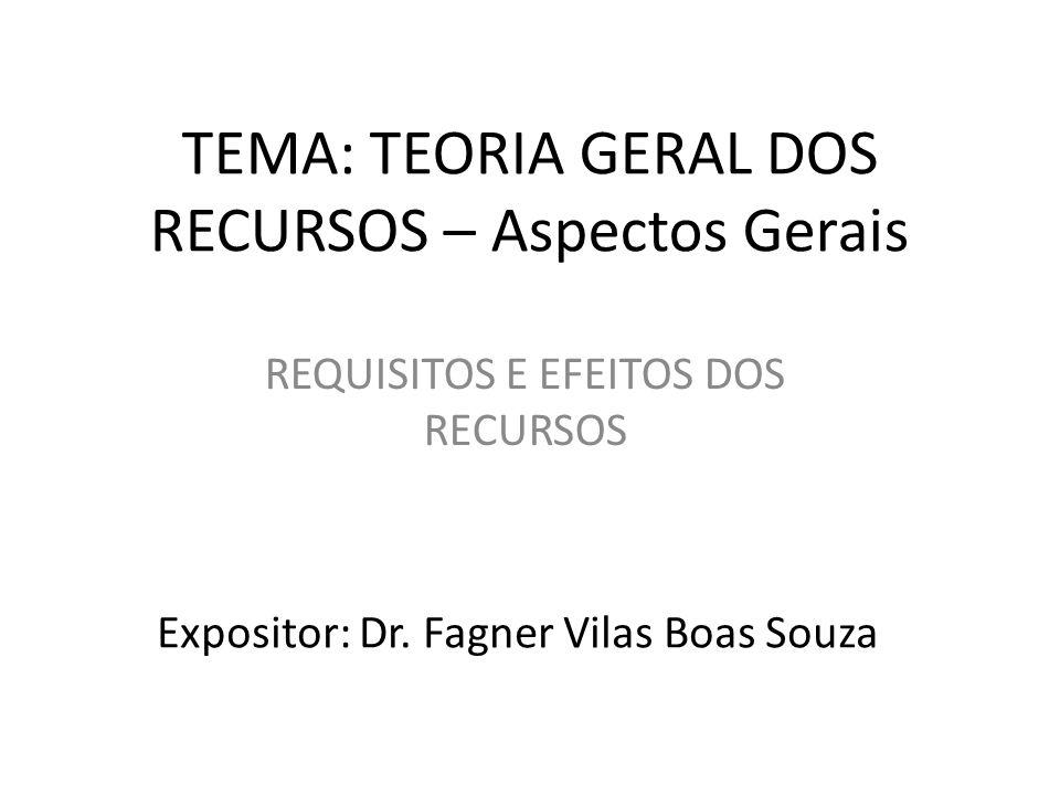 TEMA: TEORIA GERAL DOS RECURSOS – Aspectos Gerais