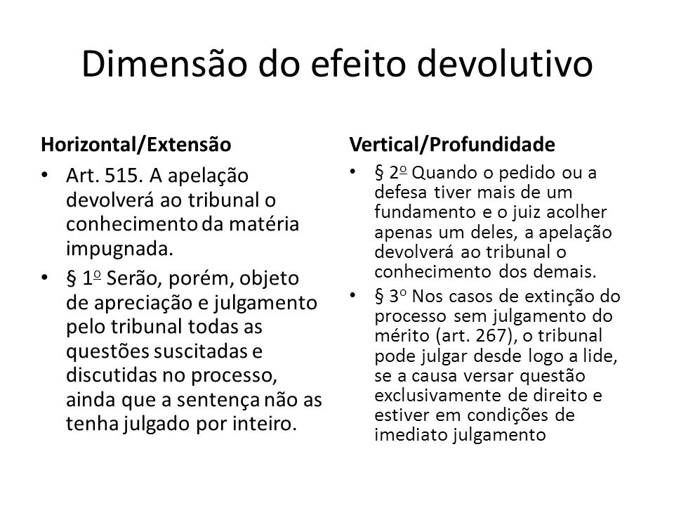 Dimensão do efeito devolutivo