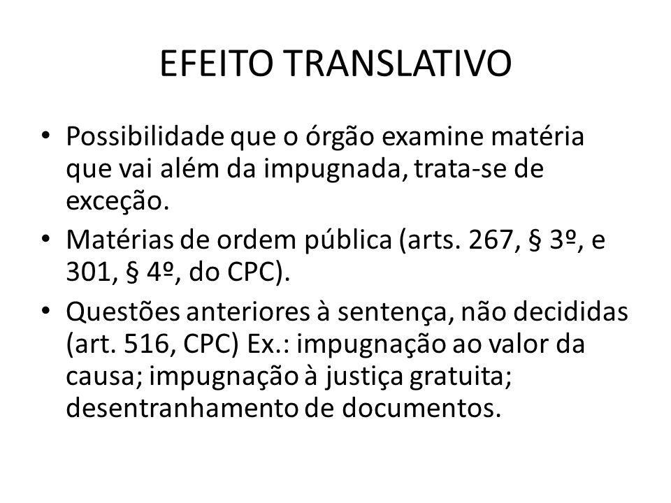 EFEITO TRANSLATIVO Possibilidade que o órgão examine matéria que vai além da impugnada, trata-se de exceção.