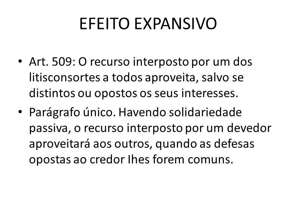 EFEITO EXPANSIVO Art. 509: O recurso interposto por um dos litisconsortes a todos aproveita, salvo se distintos ou opostos os seus interesses.