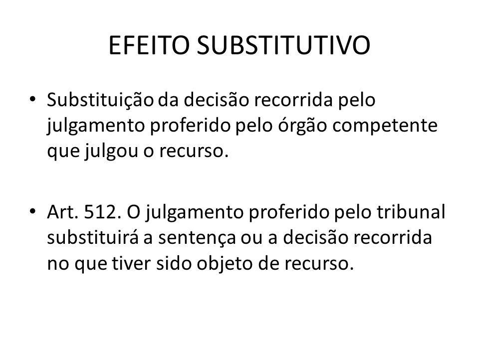 EFEITO SUBSTITUTIVO Substituição da decisão recorrida pelo julgamento proferido pelo órgão competente que julgou o recurso.