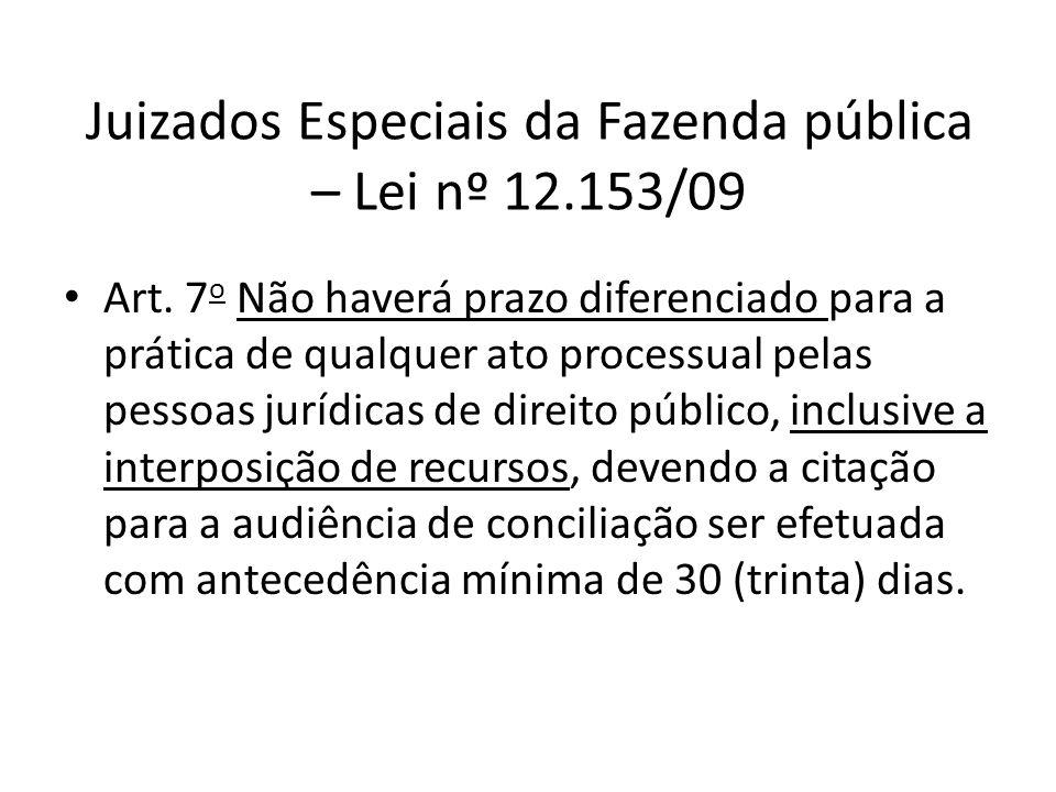 Juizados Especiais da Fazenda pública – Lei nº 12.153/09