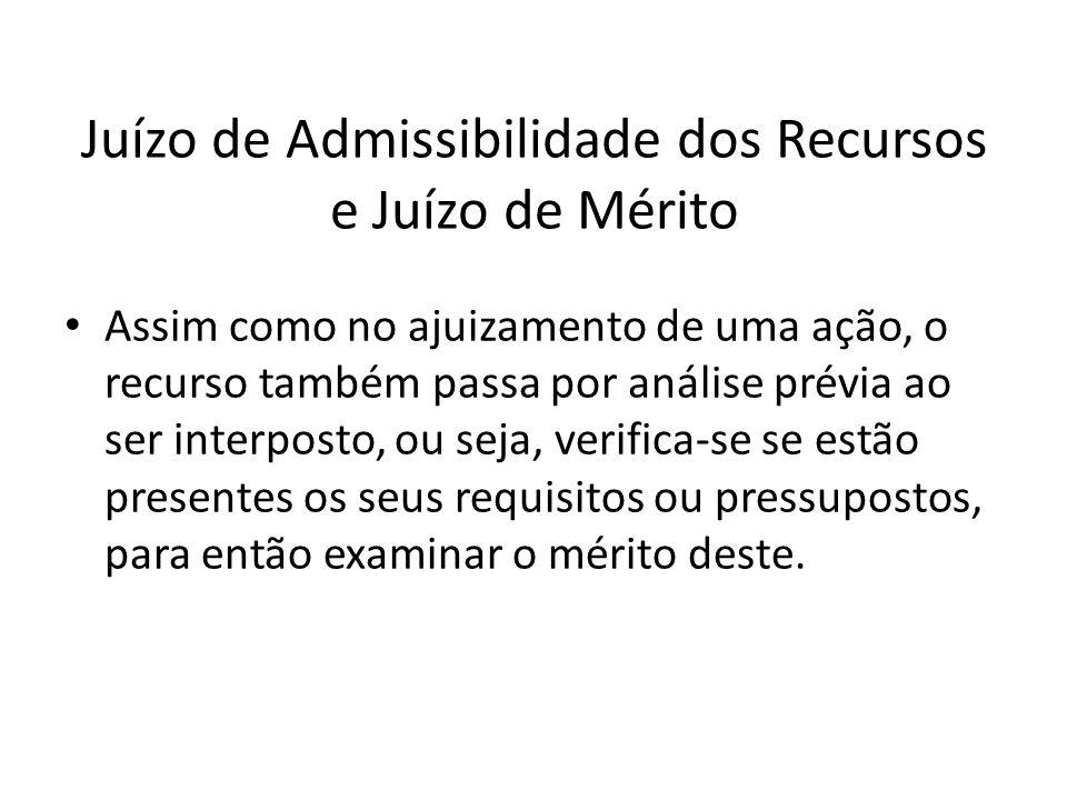 Juízo de Admissibilidade dos Recursos e Juízo de Mérito