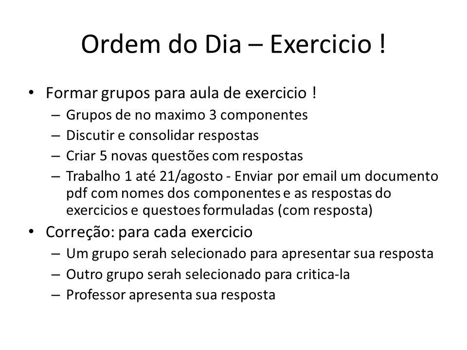 Ordem do Dia – Exercicio !