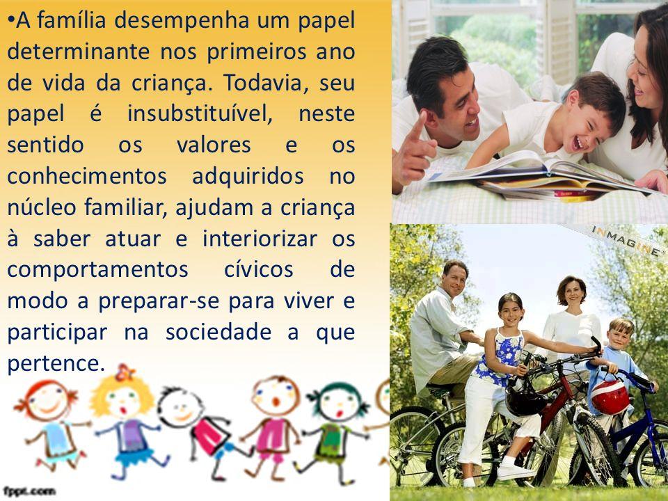 A família desempenha um papel determinante nos primeiros ano de vida da criança.
