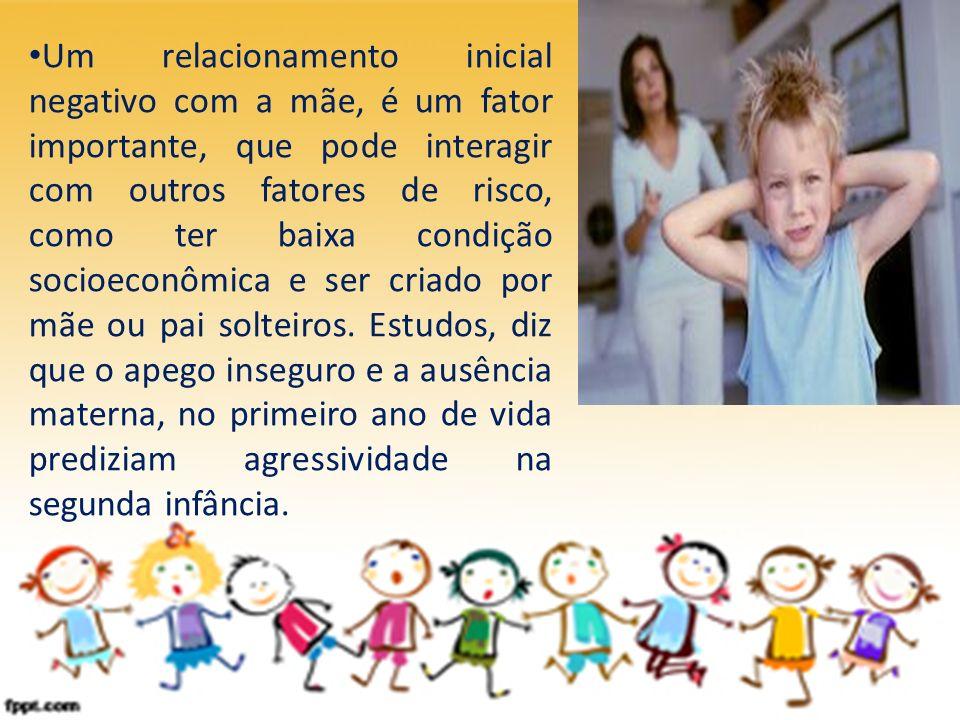 Um relacionamento inicial negativo com a mãe, é um fator importante, que pode interagir com outros fatores de risco, como ter baixa condição socioeconômica e ser criado por mãe ou pai solteiros.
