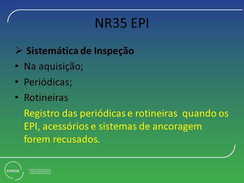 NR35 EPI Sistemática de Inspeção Na aquisição; Periódicas; Rotineiras