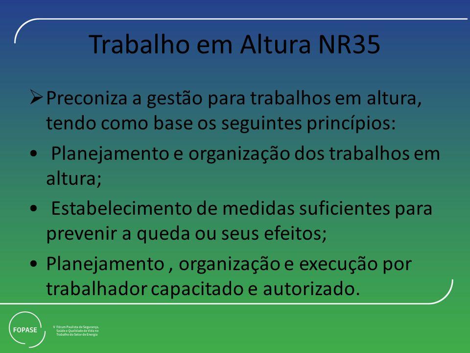 Trabalho em Altura NR35 Preconiza a gestão para trabalhos em altura, tendo como base os seguintes princípios: