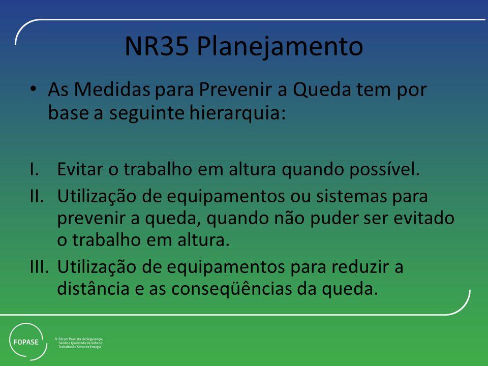 NR35 Planejamento As Medidas para Prevenir a Queda tem por base a seguinte hierarquia: Evitar o trabalho em altura quando possível.