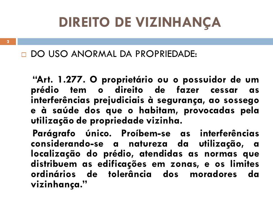 DIREITO DE VIZINHANÇA DO USO ANORMAL DA PROPRIEDADE: