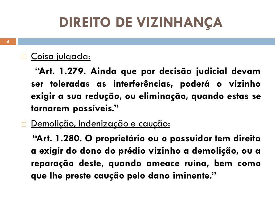 DIREITO DE VIZINHANÇA Coisa julgada:
