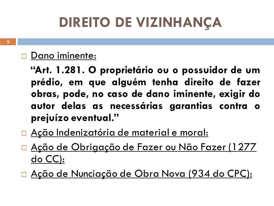DIREITO DE VIZINHANÇA Dano iminente:
