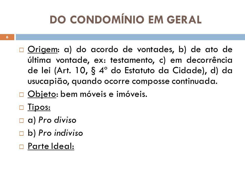 DO CONDOMÍNIO EM GERAL