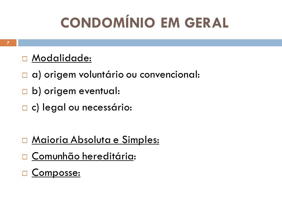 CONDOMÍNIO EM GERAL Modalidade: a) origem voluntário ou convencional: