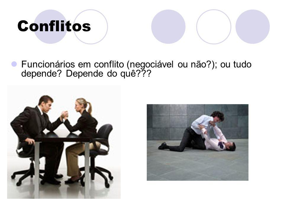 Conflitos Funcionários em conflito (negociável ou não ); ou tudo depende Depende do quê