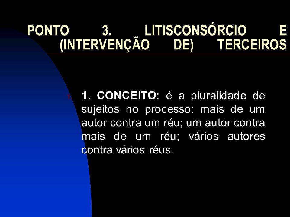 PONTO 3. LITISCONSÓRCIO E (INTERVENÇÃO DE) TERCEIROS