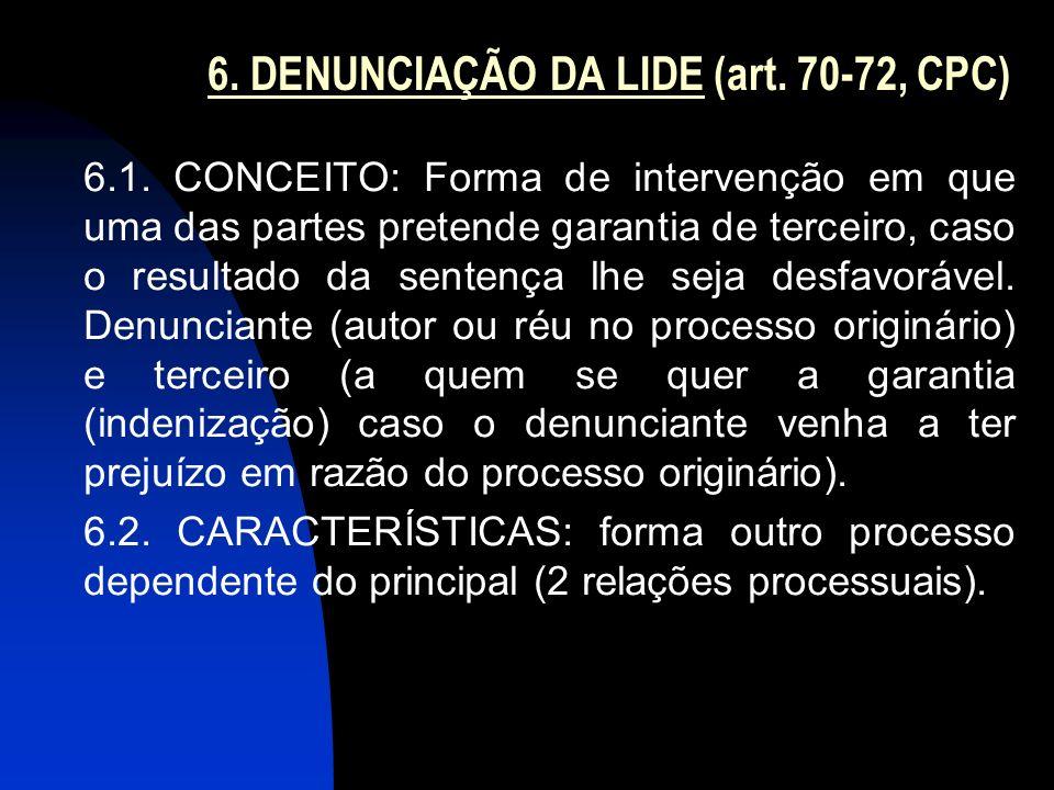 6. DENUNCIAÇÃO DA LIDE (art. 70-72, CPC)