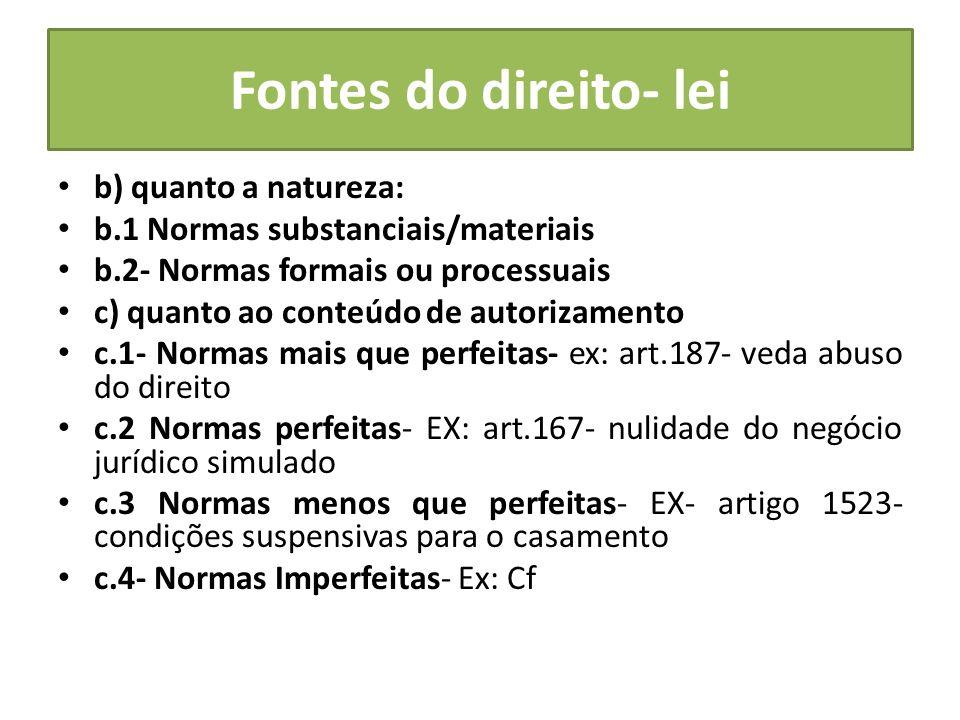 Fontes do direito- lei b) quanto a natureza: