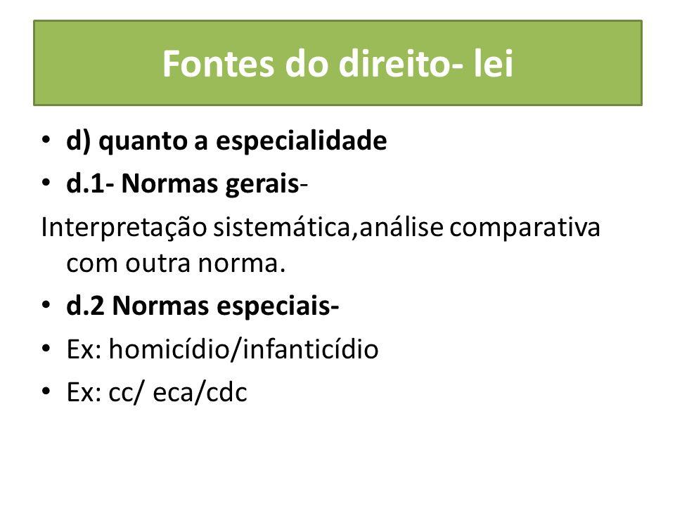 Fontes do direito- lei d) quanto a especialidade d.1- Normas gerais-