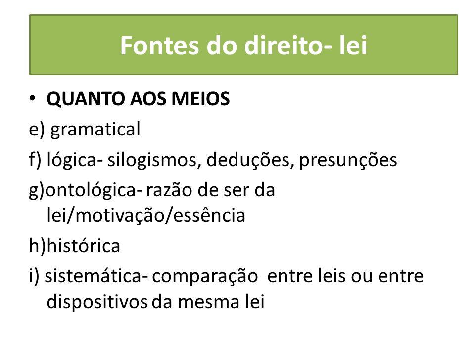 Fontes do direito- lei QUANTO AOS MEIOS e) gramatical