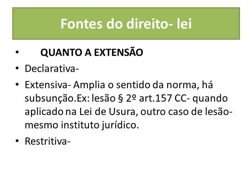 Fontes do direito- lei QUANTO A EXTENSÃO Declarativa-