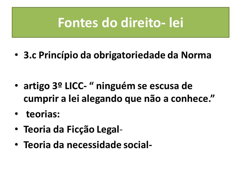Fontes do direito- lei 3.c Princípio da obrigatoriedade da Norma