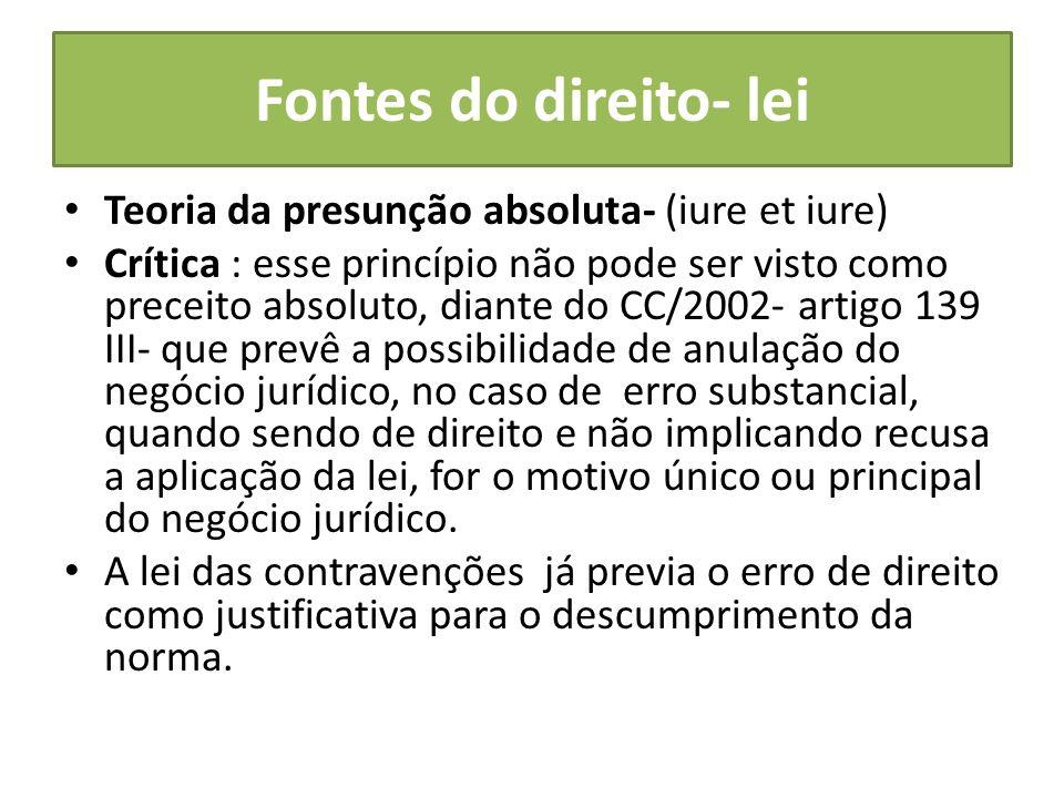 Fontes do direito- lei Teoria da presunção absoluta- (iure et iure)