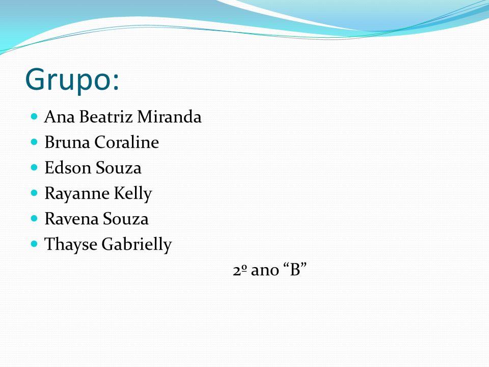 Grupo: Ana Beatriz Miranda Bruna Coraline Edson Souza Rayanne Kelly