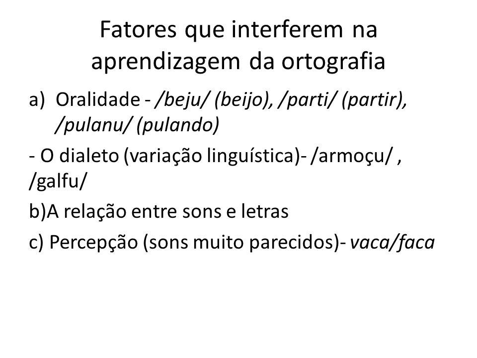 Fatores que interferem na aprendizagem da ortografia