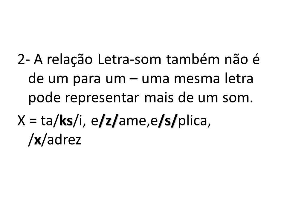 2- A relação Letra-som também não é de um para um – uma mesma letra pode representar mais de um som.