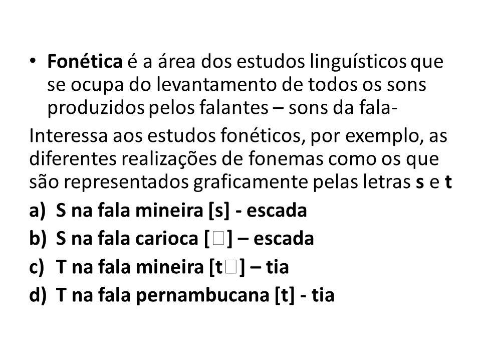 Fonética é a área dos estudos linguísticos que se ocupa do levantamento de todos os sons produzidos pelos falantes – sons da fala-