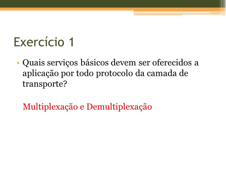 Exercício 1 Quais serviços básicos devem ser oferecidos a aplicação por todo protocolo da camada de transporte