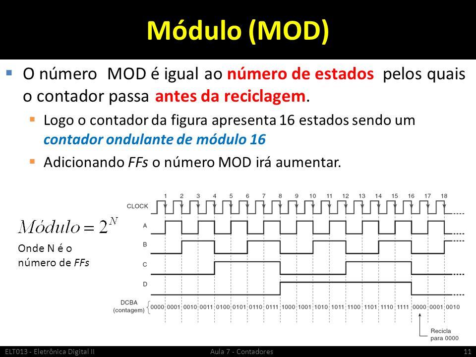 Módulo (MOD) O número MOD é igual ao número de estados pelos quais o contador passa antes da reciclagem.