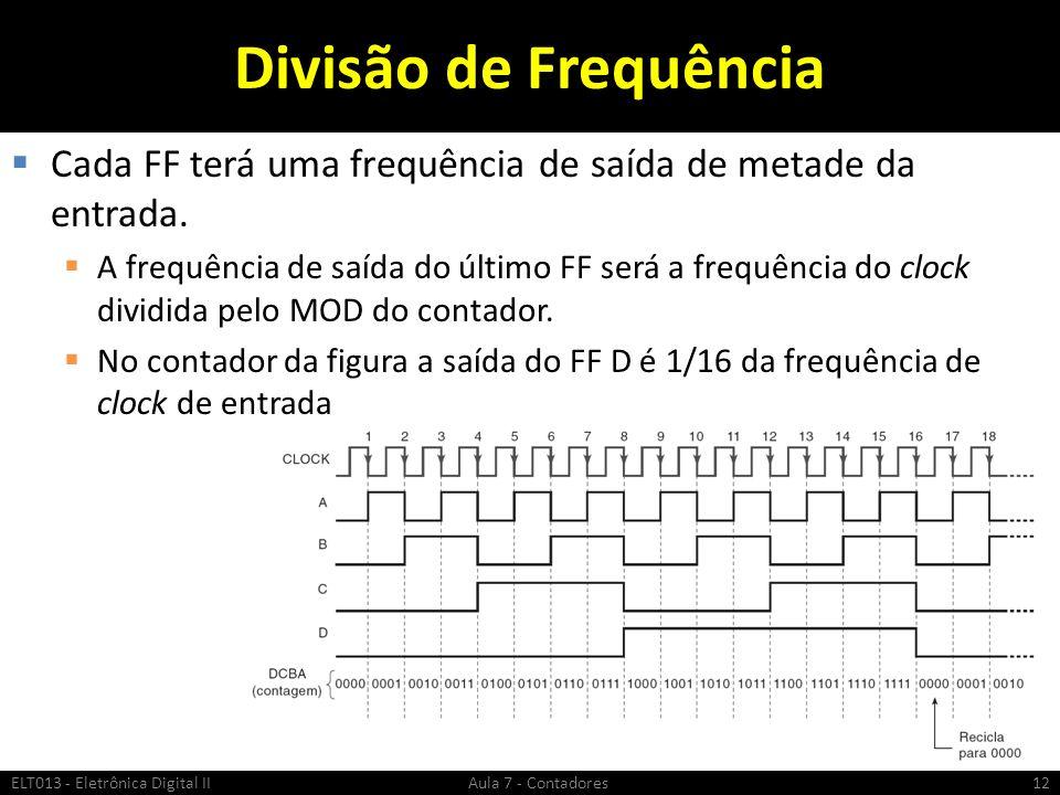 Divisão de Frequência Cada FF terá uma frequência de saída de metade da entrada.