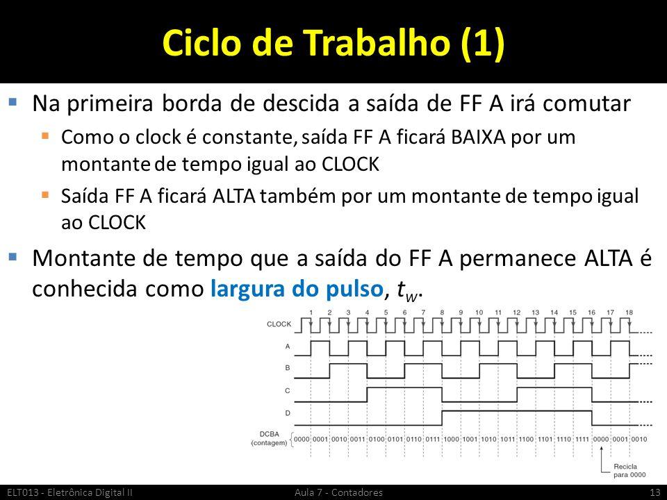 Ciclo de Trabalho (1) Na primeira borda de descida a saída de FF A irá comutar.