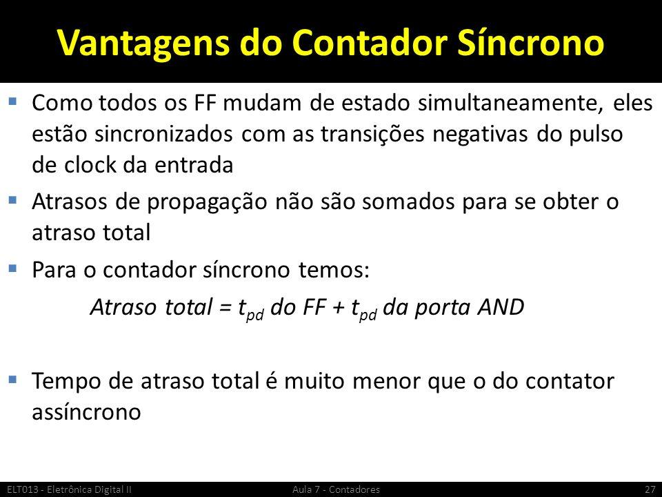 Vantagens do Contador Síncrono