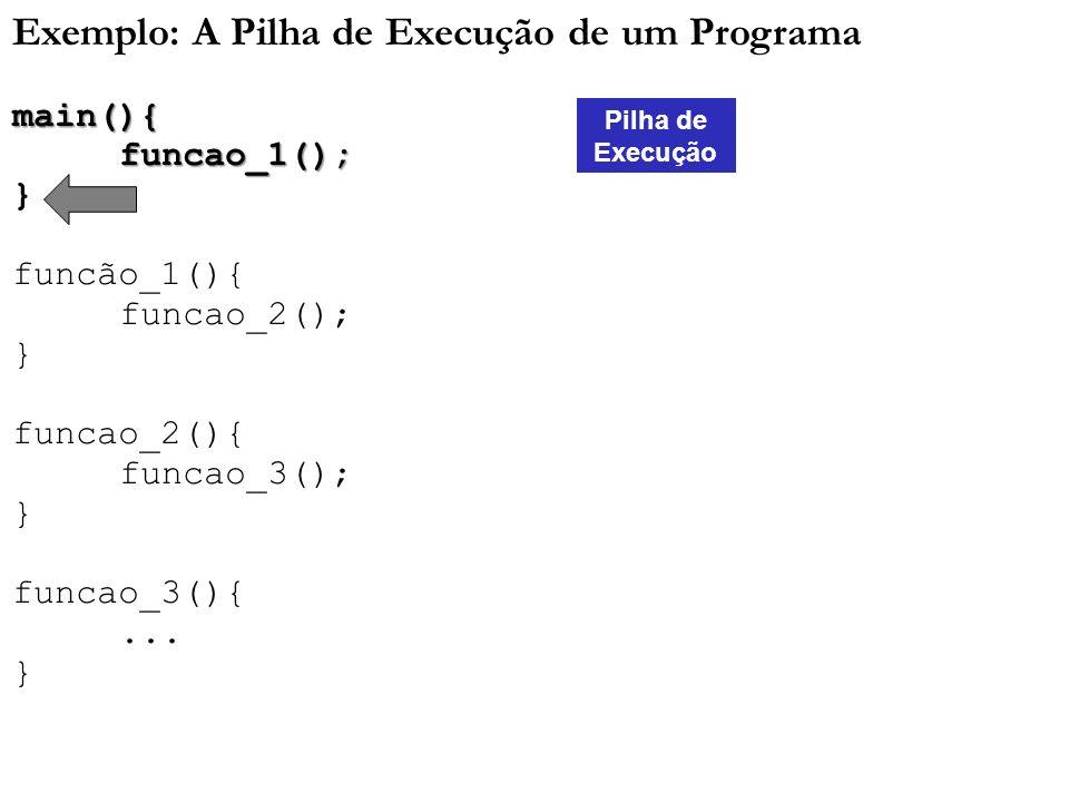 Exemplo: A Pilha de Execução de um Programa