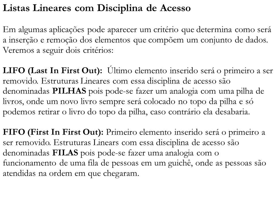 Listas Lineares com Disciplina de Acesso Em algumas aplicações pode aparecer um critério que determina como será a inserção e remoção dos elementos que compõem um conjunto de dados.
