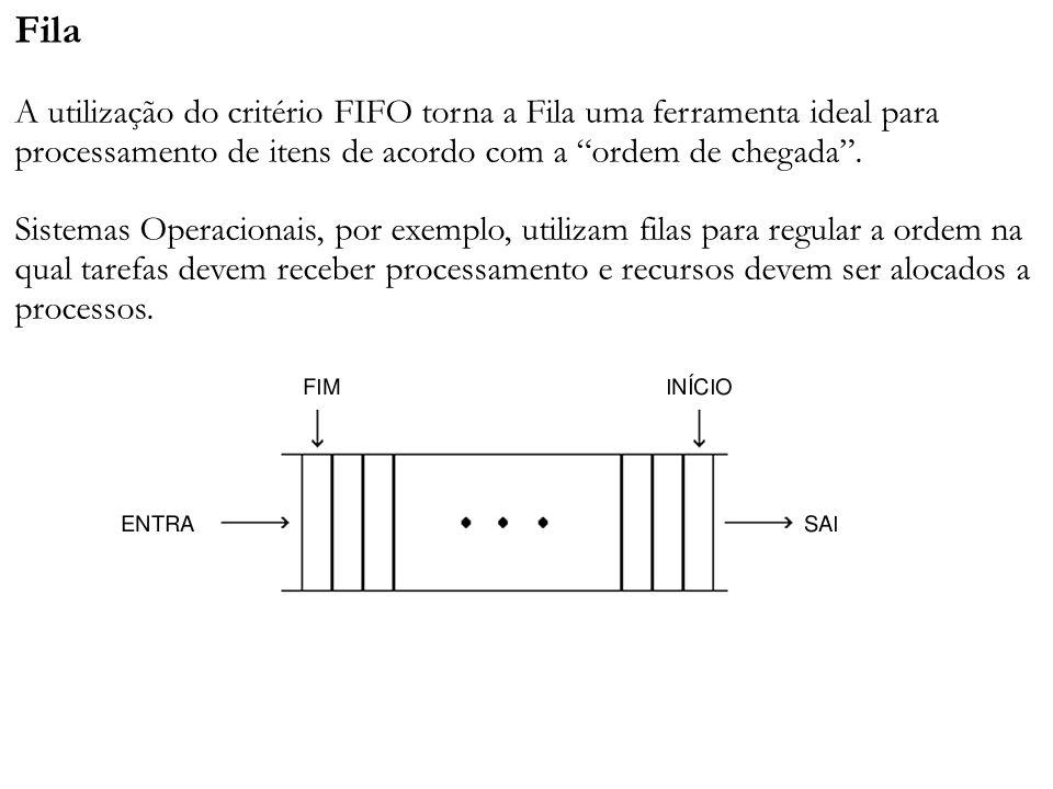 Fila A utilização do critério FIFO torna a Fila uma ferramenta ideal para processamento de itens de acordo com a ordem de chegada .