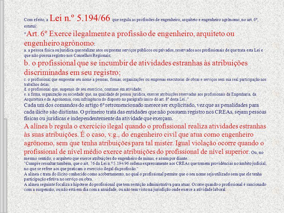 Com efeito, a Lei n.º 5.194/66 que regula as profissões de engenheiro, arquiteto e engenheiro agrônomo, no art.
