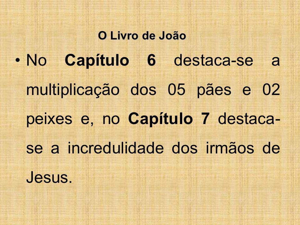 O Livro de João No Capítulo 6 destaca-se a multiplicação dos 05 pães e 02 peixes e, no Capítulo 7 destaca-se a incredulidade dos irmãos de Jesus.