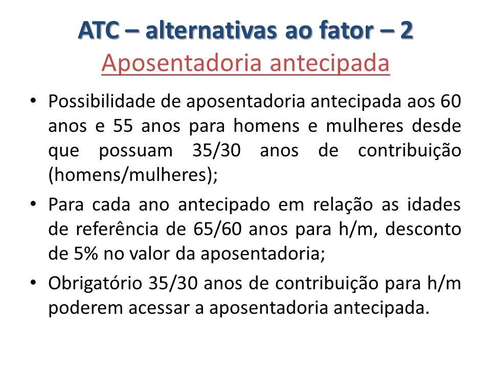 ATC – alternativas ao fator – 2 Aposentadoria antecipada