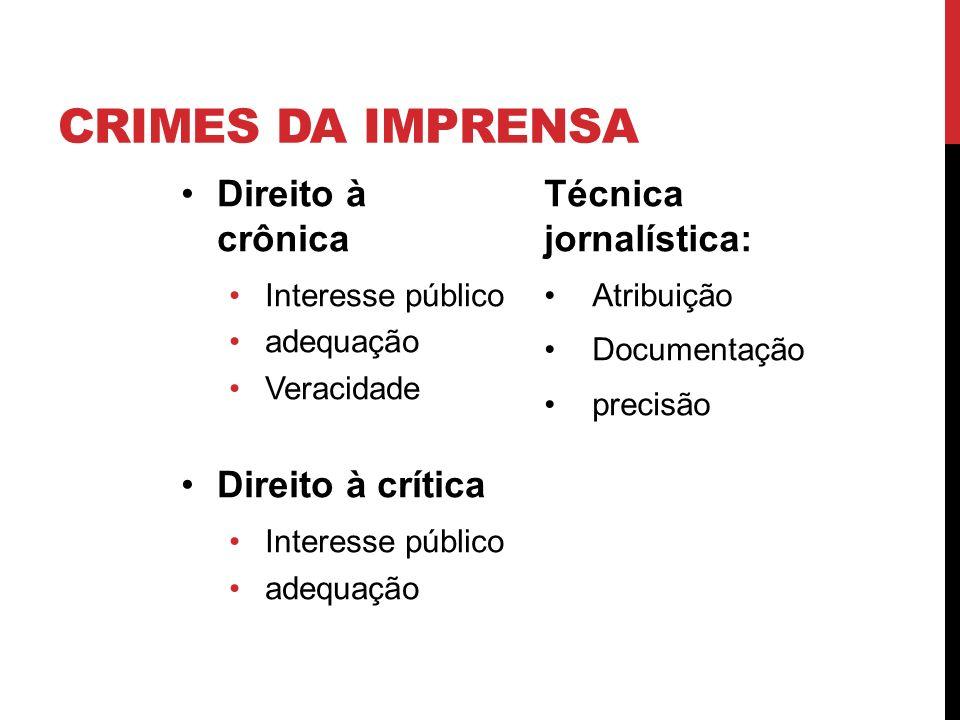 Crimes da imprensa Direito à crônica Direito à crítica