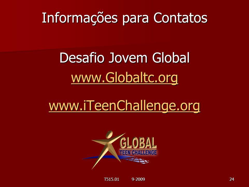 Informações para Contatos Desafio Jovem Global www. Globaltc. org www